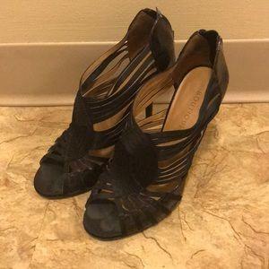 Black satin back zipper strappy heels 7 1/2